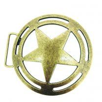 Hebilla de Cinturón Estrella de Sheriff Dorada 10 cm