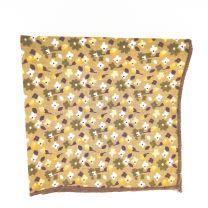 Pañuelo de Algodon Marron Floreado 23,5 x 23,5 cm