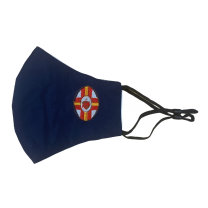 Mascarilla Reutilizable y ajustable de Algodón Color Azul Marino Sagrado Corazon
