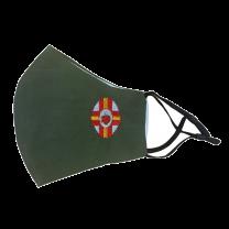 Mascarilla Reutilizable y ajustable de Algodón Color Verde Militar Sagrado Corazon