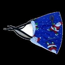 Mascarilla Reutilizable y ajustable de Algodón para Niños Modelo Papa Noel Tenis Azul