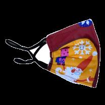 Mascarilla Reutilizable y ajustable de Algodón para Niños Modelo Santa Claus Papa Noel Burdeos