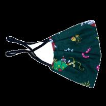 Mascarilla Reutilizable y ajustable de Algodón para Niños Modelo Santa Claus Papa Noel Verde