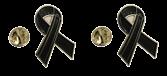 Pack 2 Pins de Solapa Black Ribbon - Lazo Negro 17mm