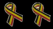 Pack 2 Pins de Solapa Lazo Bandera Belgica Ribbon Flag Belgium 30x25mm