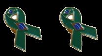 Pack 2 Pins de Solapa Lazo Bandera Brasil Ribbon Flag Brazil 30x25mm