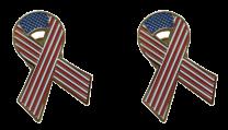 Pack 2 Pins de Solapa Lazo Bandera Estados Unidos Ribbon Flag USA 30x25mm
