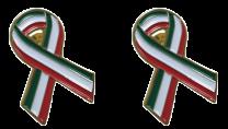 Pack 2 Pins de Solapa Lazo Bandera Italia Ribbon Flag Italy 30x25mm