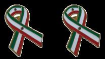 Pack 2 Pins de Solapa Lazo Bandera Mejico Ribbon Flag Mexico 30x25mm