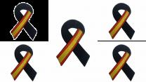 Pack 5 Parches Termoadhesivo Lazo Negro Bandera de España 7x5cm