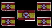 Pack 5 Parches Termoadhesivos Bandera España Lema Tercios de Flandes 8x5cm