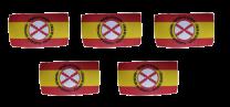 Pack 5 Parches Termoadhesivos Bandera España Lema Tercios de Flandes mod 2 8x4,5cm