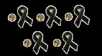 Pack 5 Pins de Solapa Black Ribbon - Lazo Negro 17mm
