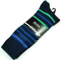 Pack 2 pares de Calcetines de Caballero Hugo Boss Talla 43-46 Navy & Navy Stripes