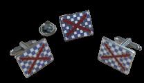 Pack Gemelos y Pin Bandera Tercio de Spinola 20x15mm