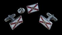 Pack Gemelos y Pin  Detente Sagrado Corazon Aspa Borgoña 18x11mm