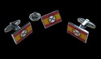 Pack Pin y Gemelos Bandera España Lema Tercios de Flandes 18x11mm