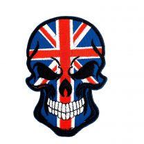 Parche Bordado Hook and Loop Calavera Reino Unido Union Jack 9cm x 6cm