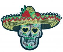Parche Bordado Termoadhesivo Calavera Catrina con Sombrero Mexicano 11 cm