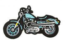 Parche Bordado Termoadhesivo Harley Davidson Azul 9,5x5cm