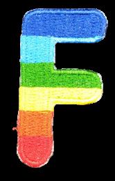 Parche Termoadhesivo Letra Letter F Arco iris 4 cm