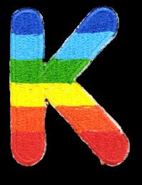 Parche Termoadhesivo Letra Letter K Arco iris 4 cm