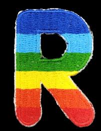 Parche Termoadhesivo Letra Letter R Arco iris 4 cm