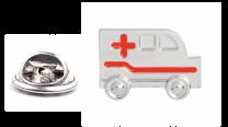 Pin de Solapa Ambulancia Plateada y Roja
