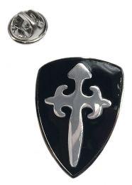 Pin de Solapa Escudo Medieval Negro y Plateado