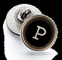 Pin de Solapa Magglass Botón de Maquina de Escribir Letra Letter P 16mm