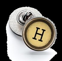 Pin de Solapa Magglass Boton de Maquina de Escribir Letra Letter H Mod 2 16mm