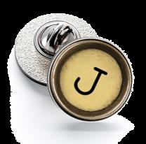 Pin de Solapa Magglass Boton de Maquina de Escribir Letra Letter J Mod 2 16mm