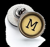 Pin de Solapa Magglass Boton de Maquina de Escribir Letra Letter M Mod 2 16mm