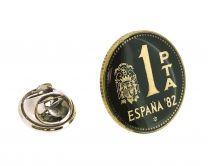 Pin de Solapa Moneda Original Pintada a Mano 1 Peseta Mundial 82 Verde Oscuro