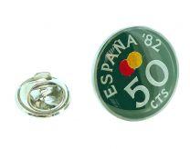 Pin de Solapa Moneda Original Pintada a Mano 50 Céntimos Mundial 82 Verde