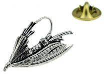 Pin de Solapa Mosca de Pesca Plateada