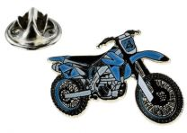 Pin de Solapa Moto de Cross Azul y Blanca