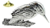 Pin de Solapa Pájaro Pescador Modelo 2 Plateado