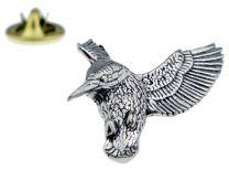 Pin de Solapa Pájaro Pescador Plateado