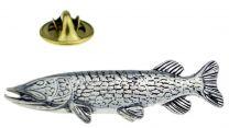 Pin de Solapa Pescado de Lucio Plateado