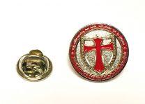 Pin de Solapa Redondo con Escudo Cruz Templaria en Rojo