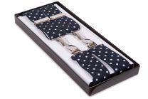 Tirantes para pantalones elásticos con topos azules y blancos