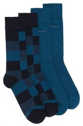 Twopack Hugo Boss Calcetines RS Design Tonos Azules Ajedrez y Liso Talla 43-46
